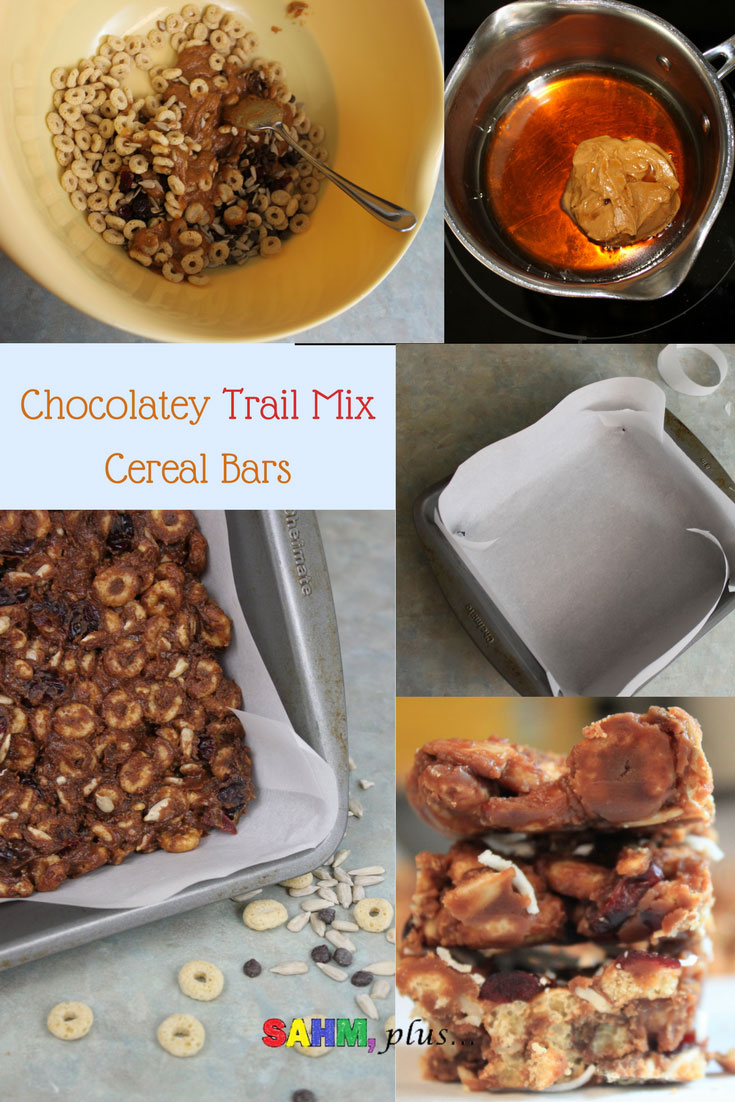 Chocolatey trail mix cereal bars made with O's cereal. These healthy-ish bars are toddler friendly, made without honey. And, it's even fun to get your kids to help you make. These are made gluten free and dairy free. www.sahmplus.com