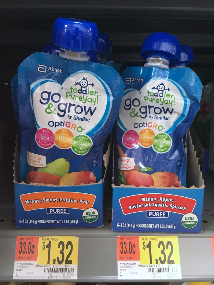 Go & Grow by Similac pouches at Walmart for a picky toddler
