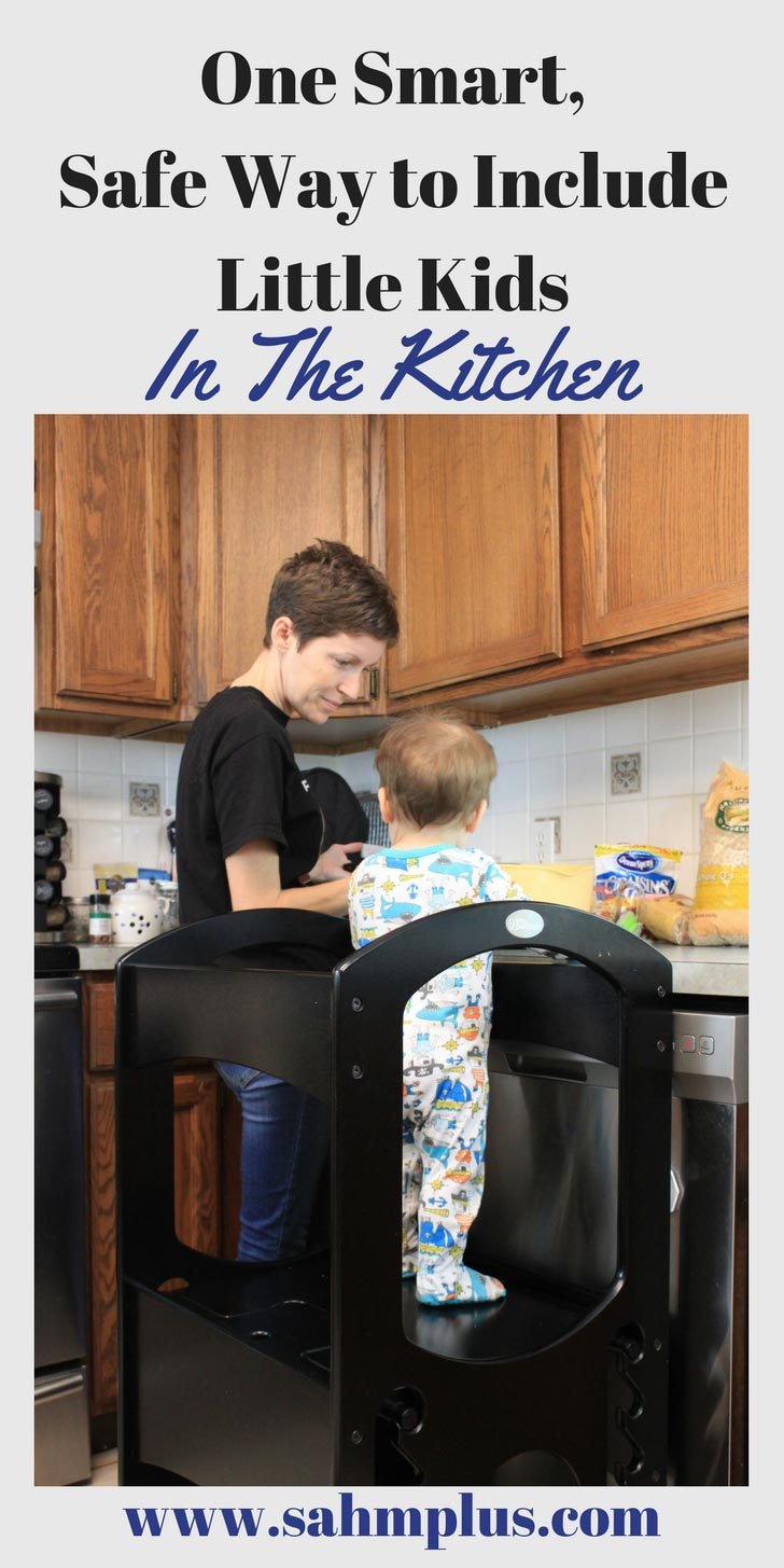 We've all put our littles on the counter or set them in chairs to include them in the kitchen. But those are really unsafe choices. Check out one smart way to keep your kids safe while helping in the kitchen. This simple solution will help you to have Little Partners in the Kitchen without the worry that they fall off the counter. Plus, a recipe for toddler friendly cereal bars via www.sahmplus.com