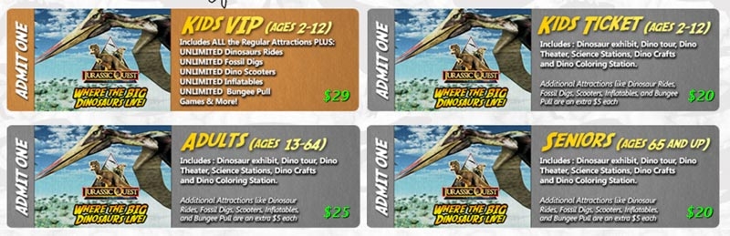 Jurassic Quest ticket prices in jacksonville, FL 2017
