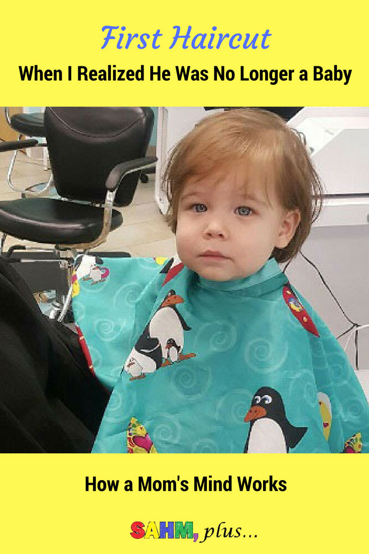 My mind races as my son gets his first haircut.  I see my children in the future and I realize THIS is the day I no longer have babies